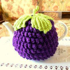 Make crochet bobble stitch tea cozy, plain color, without a leaf