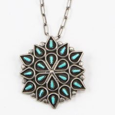 VTG-Sterling-Silver-Signed-ZUNI-Turquoise-Brooch-Pendant-Necklace-14-4g