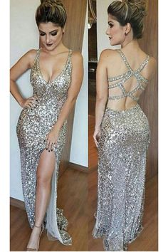 Backless Evening Dress#BacklessEveningDress Silver Prom Dress#SilverPromDress Sexy Prom Dress#SexyPromDress Side Split Prom Dresses#SideSplitPromDresses