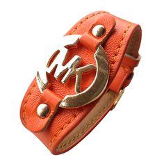 Michael Kors Leather Logo Orange Accessories Outlet