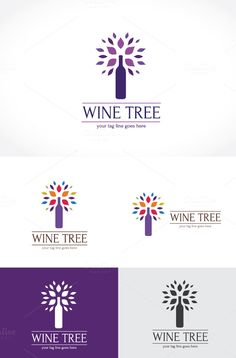 Wine Tree Logo Template by Super Pig Shop on @creativemarket