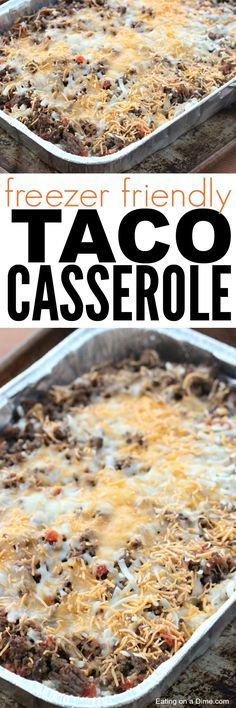 Taco Rice Casserole This Easy Taco Casserole Recipe tastes amazing and freezes great. I can make 4 at once with the same amount of effort it takes to just make one dinner. This is one delicious and frugal dinner. Freezer Friendly Meals, Make Ahead Freezer Meals, Freezer Cooking, Easy Meals, Cooking Recipes, Freezer Recipes, Cooking Tips, Freezer Dinner, Freezable Meals