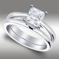 Ct Princess Cut Solitaire Lab Engagement Ring & Band set in White Gold Engagement Ring Carats, Cheap Engagement Rings, Princess Cut Engagement Rings, Diamond Engagement Rings, Beautiful Diamond Rings, Beautiful Wedding Rings, Beautiful Engagement Rings, Celebrity Rings, Vintage Diamond