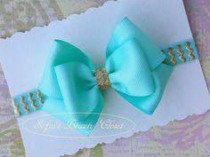 Aqua Gold headband. Bow headband. Girls bow by SofiasBeautyCloset