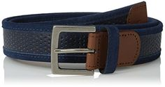 Original Penguin Mens Monte Leather Belt Dress Blues 32 *** To view further for this item, visit the image link.