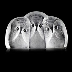 Owl on Branch 3-D Crystal Block-Sculpture