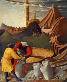 1448 ~ The Story of St. Nicholas. St. Nicholas saves the ship (detail) - Fra Angelico