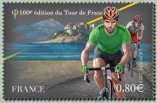 Timbre 100e édition du Tour de France, maillot vert, 2013, France #vélo