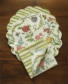placemats and napkins | Quilted Floral Placemats and Napkins