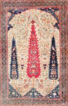 Meditation will be a breeze on this Antique Persian Silk Prayer Kerman Magic Carpet.