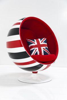 Custom Painted Union Jack Ball Chair