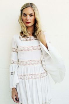 Amazing Vintage Long White dress with Ruffle Sleeves