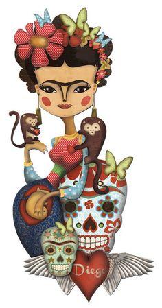 Frida con scimmie e teschi