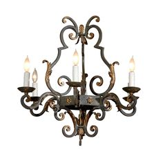 Vintage French Iron 6-light Chandelier