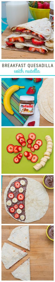 No need to question whether the family will love this quesadilla with Nutella®. Begin by slicing up fresh strawberries and bananas. Next, spread half of a tortilla with Nutella and top with the fruit. Fold over and slice into three delicious triangles.