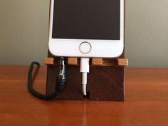 Smartphone Dock - Walnut and Cherry wood - Phone Dock - Phone Stand - iPhone 6, iPhone 5 5s docking station wooden