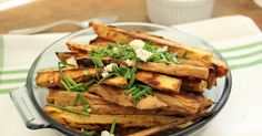 Sweet potato fries with blue cheese and chives and a citrus blue cheese dip to dunk into.