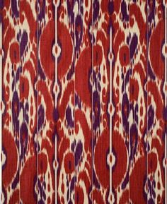 Bayadere Ikat - Scarlet/Plum - Indoor Multipurpose Fabric Brunschwig