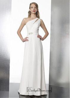Beautiful Sheath One Shoulder Keyhole Style Natural Waist Beaded Chiffon Wedding Dresses Sale On LuckyDresses.com With Top Quality And Discount