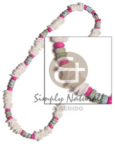 White Rose  4-5mm Pink Coco Pokalet. & Splashing Combination Teens Necklace