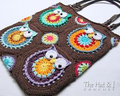 CROCHET PATTERN Owl Tote'em a colorful crochet owl by TheHatandI