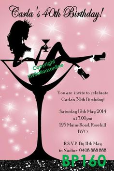 Burlesque Birthday | Burlesque Champagne Glass Hens Night Invitation 21st 30th 40th ...