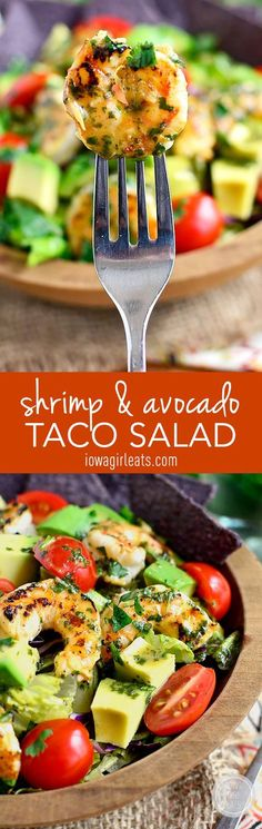 Shrimp and Avocado Taco Salad is light and refreshing with a shrimp marinade that doubles as the salad dressing. This recipe would be great in a lettuce wrap for a light, healthy dinner as well. Pin this clean eating recipe for later. Seafood Dishes, Seafood Recipes, Mexican Food Recipes, Cooking Recipes, Cooking Tips, Healthy Salads, Healthy Eating, Healthy Recipes, Simple Salad Recipes