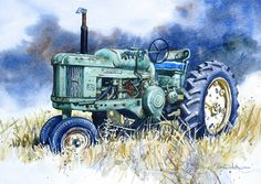 Johns office.  John Deere 50 Tractor print of Original Painting by HeartsEase2, $12.00