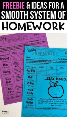 How do you manage homework in second grade, third grade, fourth grade, and fifth grade? Check out this weekly homework packet cover editable and free! First Grade Homework, Kindergarten Homework, Reading Homework, Homework Ideas, Missing Homework, Homework Board, Homework Folders, Homework Sheet, Homework Station