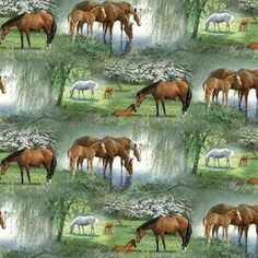 Wild Wings Willowbrook Horses Under the Willow Trees Cotton Fabric