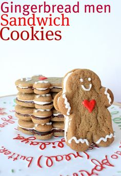 Gingerbread Men Sandwich Cookies from Sue of Munchkin Munchies Featured on In Katrina's Kitchen.  Holiday Ginger Cookies filled with Chocolate & Marshmallow Creme.