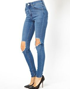 Image 1 of ASOS Ridley High Waist Ultra Skinny Jeans in Busted Blue with Busted Knee