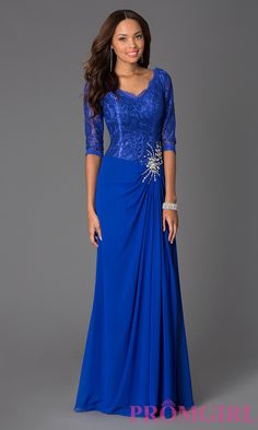 Prom Dresses, Celebrity Dresses, Sexy Evening Gowns: Floor Length V-Neck Lace Dress with Sleeves