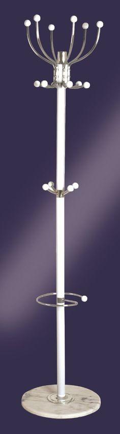 ALDO White & Chrome Metal Coat Hat Umbrella Stand with Marble Base: Amazon.co.uk: Kitchen & Home