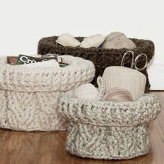 """Skill Level: Intermediate Learn to crochet braided cables and organize any room in the house with this trio of stacking baskets! The crochet pattern offers instructions for three different sizes: Small - 5½"""" high and 9"""" in diameter Medium - 6½"""" high and 11"""" in diameter Large - 7½"""" high and 13"""" in diameter This well written crochet pattern calls for 2 to 4 balls (depending on the size made) of Lion Brand® Wool Ease Thick and Quick and a 8.00 mm (L) sized crochet hook. You should be familiar…"""