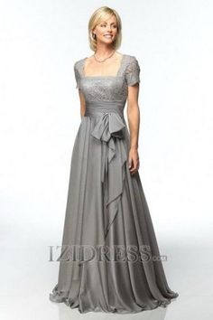 A-Line Princess Square Chiffon Mother Of The Bride Dress