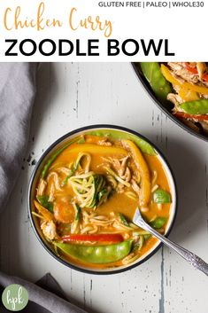This Chicken Curry Zoodle Bowl has a ton of veggies to pack a punch for your dinner. It's a healthy recipe that's gluten free paleo and compliant. It uses zucchini to replace regular pasta so you get some great thai flavor without as many carbs. Gluten Free Recipes For Dinner, Healthy Gluten Free Recipes, Supper Recipes, Whole 30 Recipes, Lunch Recipes, Soup Recipes, Chicken Curry, Kitchen Recipes, Zucchini
