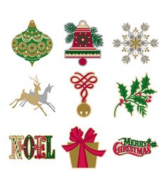 The images on the cartridge include ornaments, deer, poinsettias, snowflakes, and more, as well as layered phrases. Create these signature holiday designs with any Cricut electronic cutting machine. T