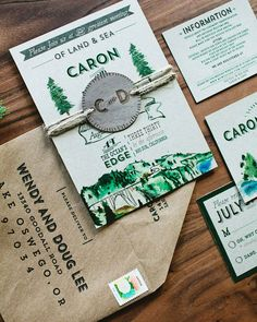 Of course, when it comes to hosting a destination wedding, your invite should be all about the (you guessed it) destination.  Find an invitation that either directly depicts your location of choice, or one that sets a general tone for the event.  For example, the rustic monogram and watercolor trees aren't solely Big Sur, but rather illustrate the setting and theme subtly. | See more invitations by theme here: http://www.mywedding.com/articles/wedding-invitation-ideas-by-theme/