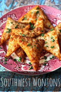 Crispy wontons loaded with southwest, cheesy goodness. Such an addictive party app!  Must PIN MUST Make!  Southwest Wontons Recipe #wonton #southwest #app #snack #easy #recipe #budgetsavvydiva #cheesy via budgetsavvydiva.com