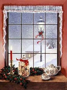 """Christmas """"Window and Teapot"""" by Charlotte Joan Sternberg Old Time Christmas, Christmas Scenes, Magical Christmas, Christmas Greetings, Winter Christmas, Christmas Windows, Xmas, Christmas Blessings, Christmas Kitchen"""