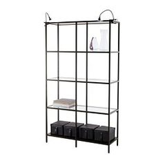 VITTSJÖ Shelving unit - IKEA - even the clip on lighting would be good. *in black if you go with the gold tables & or mirror..or we can decide on gold if needed later - ****note also come in a single