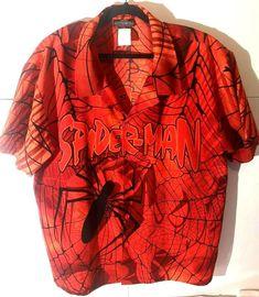 2002 Marvel Spiderman Shirt Button Up Avengers Short Sleeve Pre - Owned Spiderman Shirt, Button Up, Button Down Shirt, Avengers, Men Casual, Marvel, Sleeves, Mens Tops, Shirts