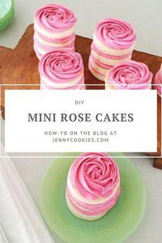 Mini Rose Cake Recipes | Mother's Day dessert recipes | mini cake recipes | diy rose cake | mini cake tutorial || JennyCookies.com #minicake #rosecake #mothersday