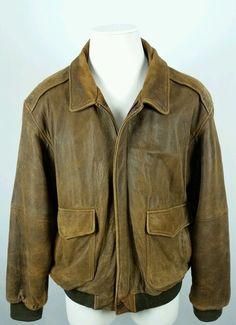 dd1a92332c9 VTG WILSONS® Mens Sz XL Leather Motorcycle Bomber Flight Coat Jacket Brown   Wilsons