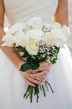 Gorgeous white rose bouquet