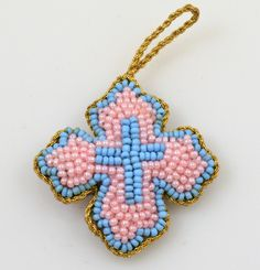Orthodox Filakto Pendant Cross with Pink Beads Byzantine Art, Orthodox Christianity, Traditional Fabric, Religious Icons, Amulets, Art Store, Cross Pendant, Folk Art, Greek