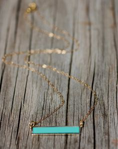 Hot Trend Bar Necklace Turquoise Necklace by amyfinedesign