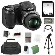 Amazon.com: Nikon COOLPIX L820 16 MP Digital Camera with 30x Zoom (Black) + 4 AA Batteries with AC/DC Rapid Charger + 11pc Bundle 32GB Deluxe Accessory Kit: Camera & Photo
