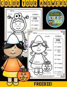 Two FREE Halloween Color By Numbers Addition With Three Single-Digit Addends Worksheets with Answer Keys Included. Addition with Three Addends Cute Kids in Halloween Costumes Color by Code Fun - FREE Color Your Answers Printables for some Math Fun in your Holiday Activities, Classroom Activities, Addition Activities, Classroom Ideas, Addition Games, Math Addition, Thanksgiving Activities, Math Classroom, Future Classroom